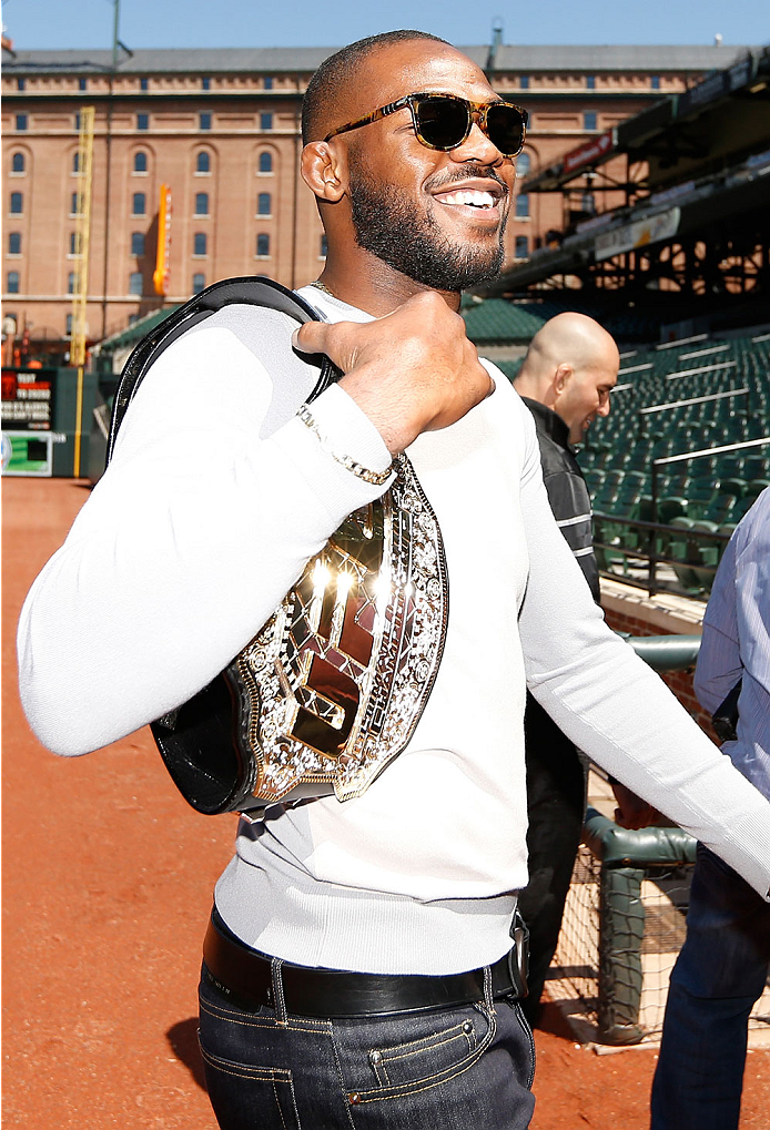 "BALTIMORE, MD - APRIL 24:  UFC light heavyweight champion Jon ""Bones"" Jones poses for photos on the field at Camden Yards on April 24, 2014 in Baltimore, Maryland. (Photo by Josh Hedges/Zuffa LLC/Zuffa LLC via Getty Images)"