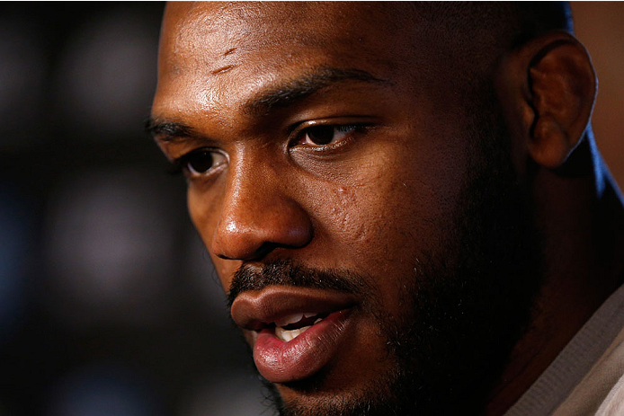 "BALTIMORE, MD - APRIL 24:  UFC light heavyweight champion Jon ""Bones"" Jones interacts with media during the UFC 172 media day at Camden Yards on April 24, 2014 in Baltimore, Maryland. (Photo by Josh Hedges/Zuffa LLC/Zuffa LLC via Getty Images)"