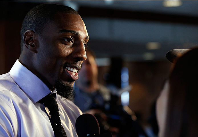BALTIMORE, MD - APRIL 24:  Phil Davis interacts with media during the UFC 172 media day at Camden Yards on April 24, 2014 in Baltimore, Maryland. (Photo by Josh Hedges/Zuffa LLC/Zuffa LLC via Getty Images)