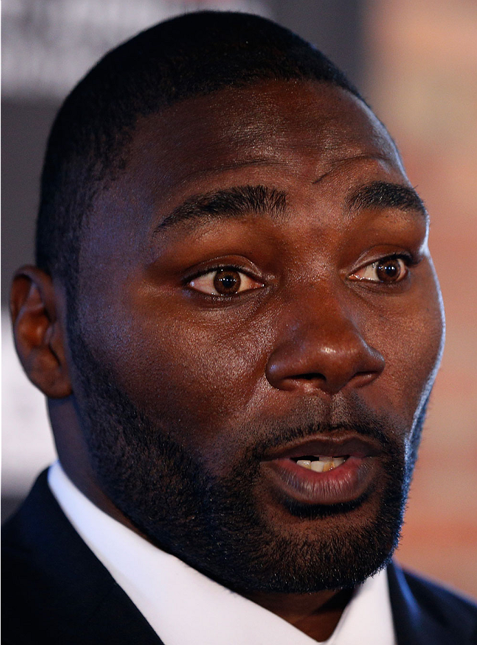 BALTIMORE, MD - APRIL 24:  Anthony Johnson interacts with media during the UFC 172 media day at Camden Yards on April 24, 2014 in Baltimore, Maryland. (Photo by Josh Hedges/Zuffa LLC/Zuffa LLC via Getty Images)