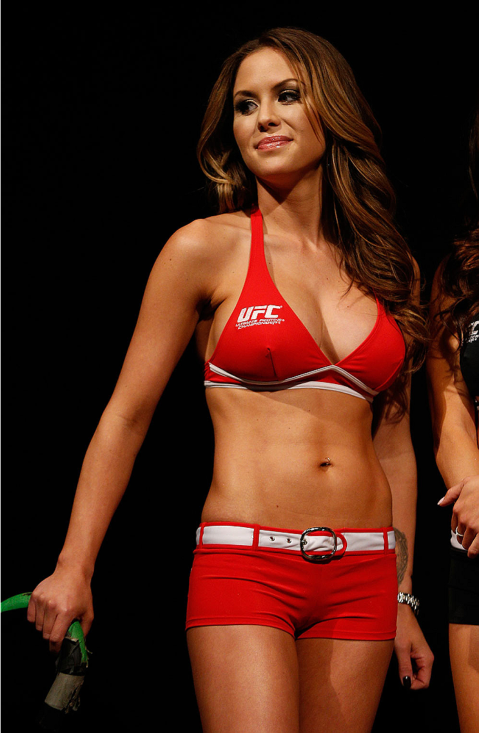 BALTIMORE, MD - APRIL 25:  UFC Octagon Girl Brittney Palmer stands on stage during the UFC 172 weigh-in at the Baltimore Arena on April 25, 2014 in Baltimore, Maryland. (Photo by Josh Hedges/Zuffa LLC/Zuffa LLC via Getty Images)