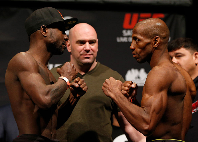 BALTIMORE, MD - APRIL 25: (L-R) Opponents Chris Beal and Patrick Williams face off during the UFC 172 weigh-in at the Baltimore Arena on April 25, 2014 in Baltimore, Maryland. (Photo by Josh Hedges/Zuffa LLC/Zuffa LLC via Getty Images)