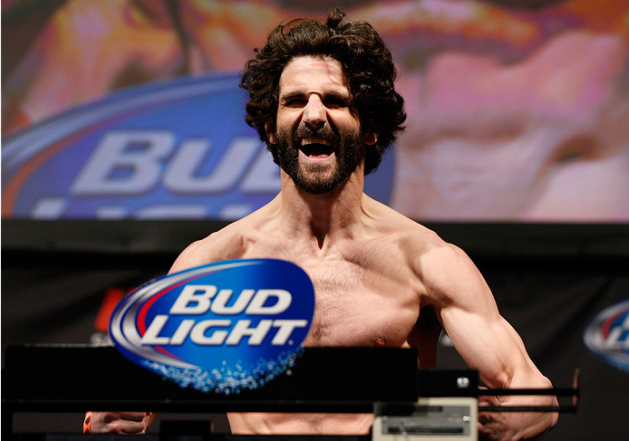 BALTIMORE, MD - APRIL 25: Charlie Brenneman weighs in during the UFC 172 weigh-in at the Baltimore Arena on April 25, 2014 in Baltimore, Maryland. (Photo by Josh Hedges/Zuffa LLC/Zuffa LLC via Getty Images)