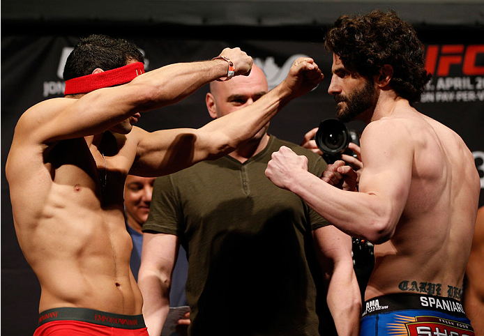 BALTIMORE, MD - APRIL 25: (L-R) Opponents Danny Castillo and Charlie Brenneman face off during the UFC 172 weigh-in at the Baltimore Arena on April 25, 2014 in Baltimore, Maryland. (Photo by Josh Hedges/Zuffa LLC/Zuffa LLC via Getty Images)