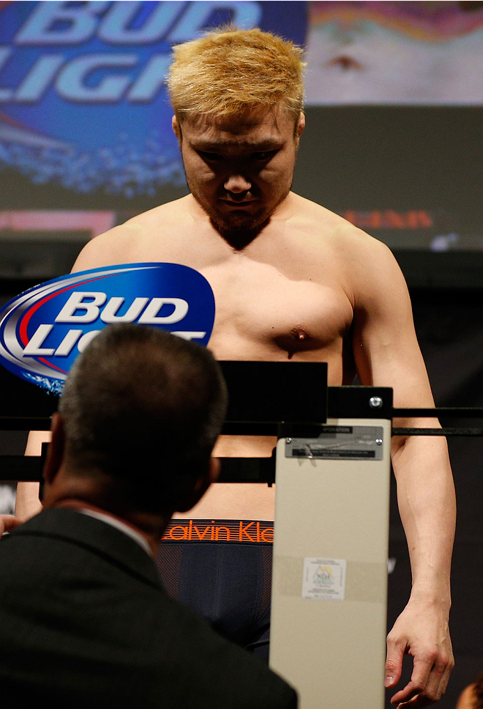BALTIMORE, MD - APRIL 25: Takanori Gomi weighs in during the UFC 172 weigh-in at the Baltimore Arena on April 25, 2014 in Baltimore, Maryland. (Photo by Josh Hedges/Zuffa LLC/Zuffa LLC via Getty Images)