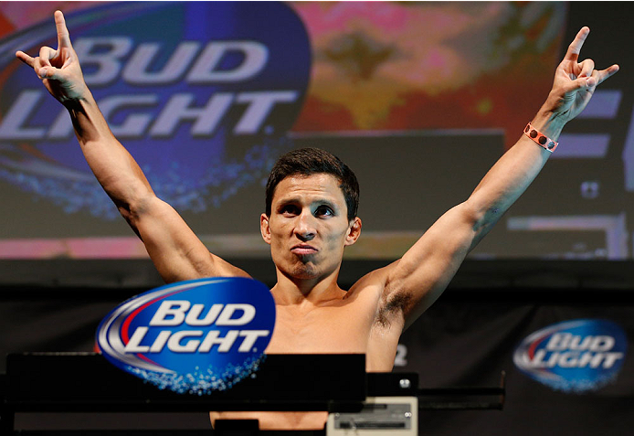 BALTIMORE, MD - APRIL 25: Joseph Benavidez weighs in during the UFC 172 weigh-in at the Baltimore Arena on April 25, 2014 in Baltimore, Maryland. (Photo by Josh Hedges/Zuffa LLC/Zuffa LLC via Getty Images)