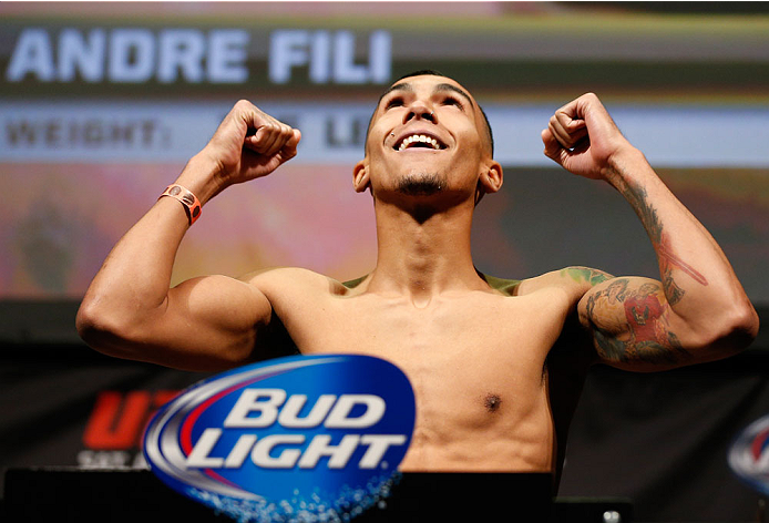 BALTIMORE, MD - APRIL 25:  Andre Fili weighs in during the UFC 172 weigh-in at the Baltimore Arena on April 25, 2014 in Baltimore, Maryland. (Photo by Josh Hedges/Zuffa LLC/Zuffa LLC via Getty Images)