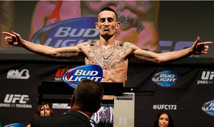 BALTIMORE, MD - APRIL 25:  Max Holloway weighs in during the UFC 172 weigh-in at the Baltimore Arena on April 25, 2014 in Baltimore, Maryland. (Photo by Josh Hedges/Zuffa LLC/Zuffa LLC via Getty Images)