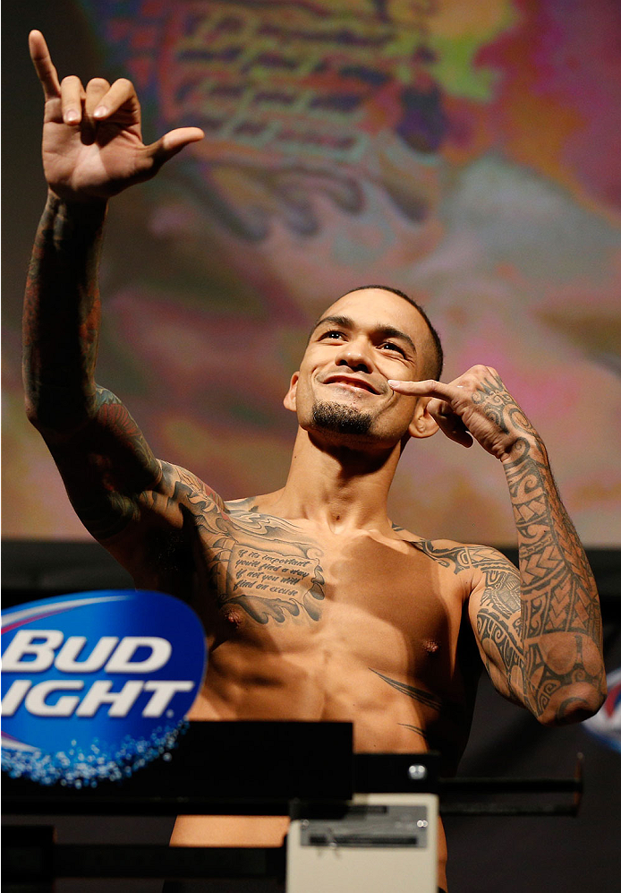 BALTIMORE, MD - APRIL 25:  Yancy Medeiros weighs in during the UFC 172 weigh-in at the Baltimore Arena on April 25, 2014 in Baltimore, Maryland. (Photo by Josh Hedges/Zuffa LLC/Zuffa LLC via Getty Images)