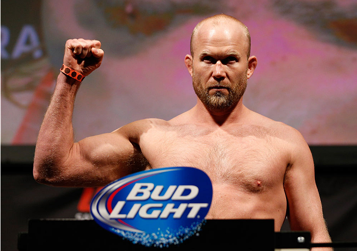 BALTIMORE, MD - APRIL 25:  Tim Boetsch weighs in during the UFC 172 weigh-in at the Baltimore Arena on April 25, 2014 in Baltimore, Maryland. (Photo by Josh Hedges/Zuffa LLC/Zuffa LLC via Getty Images)