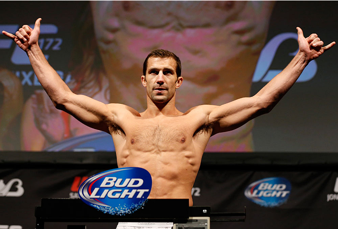BALTIMORE, MD - APRIL 25:  Luke Rockhold weighs in during the UFC 172 weigh-in at the Baltimore Arena on April 25, 2014 in Baltimore, Maryland. (Photo by Josh Hedges/Zuffa LLC/Zuffa LLC via Getty Images)