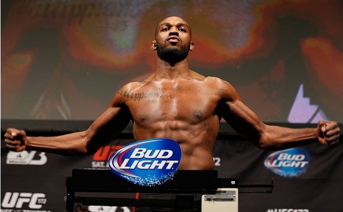 "BALTIMORE, MD - APRIL 25:  Jon ""Bones"" Jones weighs in during the UFC 172 weigh-in at the Baltimore Arena on April 25, 2014 in Baltimore, Maryland. (Photo by Josh Hedges/Zuffa LLC/Zuffa LLC via Getty Images)"