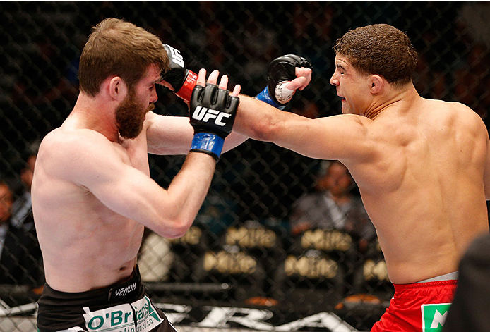 LAS VEGAS, NV - MAY 24:  (R-L) Al Iaquinta punches Mitch Clarke in their lightweight bout during the UFC 173 event at the MGM Grand Garden Arena on May 24, 2014 in Las Vegas, Nevada. (Photo by Josh Hedges/Zuffa LLC/Zuffa LLC via Getty Images)