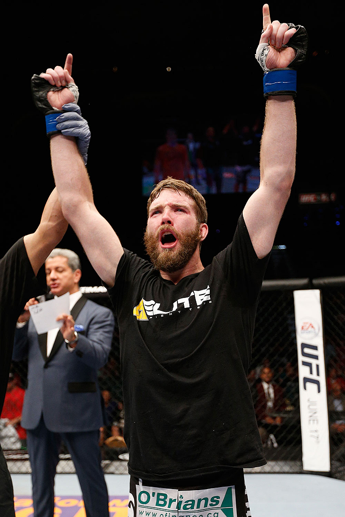 LAS VEGAS, NV - MAY 24:  Mitch Clarke reacts to his victory over Al Iaquinta in their lightweight bout during the UFC 173 event at the MGM Grand Garden Arena on May 24, 2014 in Las Vegas, Nevada. (Photo by Josh Hedges/Zuffa LLC/Zuffa LLC via Getty Images)