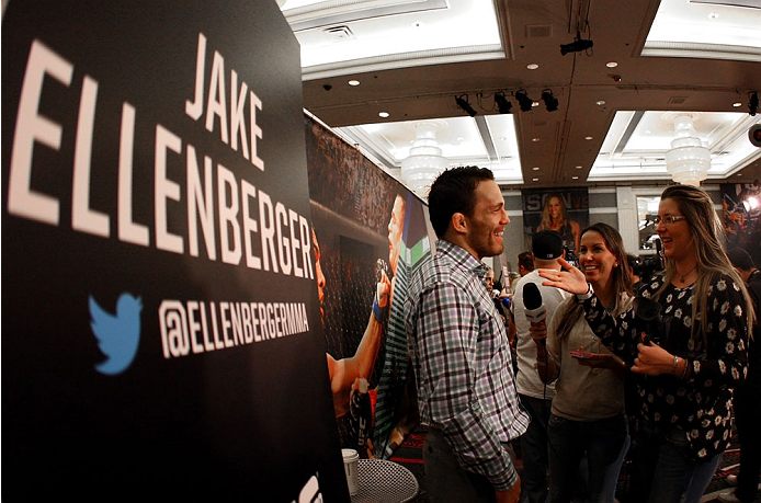 LAS VEGAS, NV - MAY 22:   Jake Ellenberger speaks to the media during the UFC 173 Ultimate Media Day at the MGM Grand Garden Arena on May 22, 2014 in Las Vegas, Nevada. (Photo by Brandon Magnus/Zuffa LLC/Zuffa LLC via Getty Images)