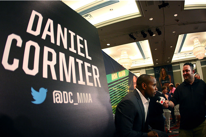 LAS VEGAS, NV - MAY 22:   Daniel Cormier speaks to the media during the UFC 173 Ultimate Media Day at the MGM Grand Garden Arena on May 22, 2014 in Las Vegas, Nevada. (Photo by Brandon Magnus/Zuffa LLC/Zuffa LLC via Getty Images)