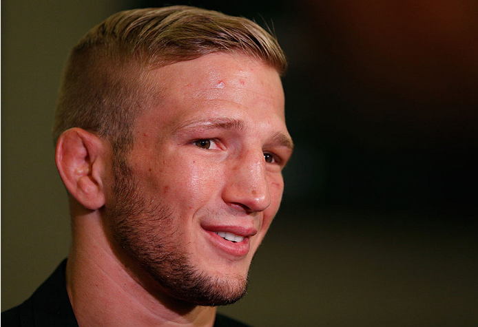 LAS VEGAS, NV - MAY 22:  T.J. Dillashaw interacts with media during the UFC 173 Ultimate Media Day at the MGM Grand Hotel/Casino on May 22, 2014 in Las Vegas, Nevada.  (Photo by Josh Hedges/Zuffa LLC/Zuffa LLC via Getty Images)