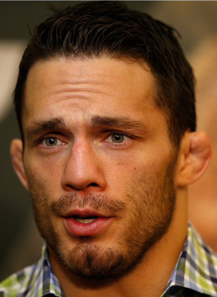 LAS VEGAS, NV - MAY 22:  Jake Ellenberger interacts with media during the UFC 173 Ultimate Media Day at the MGM Grand Hotel/Casino on May 22, 2014 in Las Vegas, Nevada.  (Photo by Josh Hedges/Zuffa LLC/Zuffa LLC via Getty Images)
