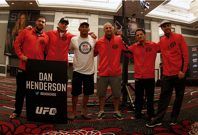 LAS VEGAS, NV - MAY 22:   Dan Henderson takes a picture with his team during the UFC 173 Ultimate Media Day at the MGM Grand Garden Arena on May 22, 2014 in Las Vegas, Nevada. (Photo by Brandon Magnus/Zuffa LLC/Zuffa LLC via Getty Images)