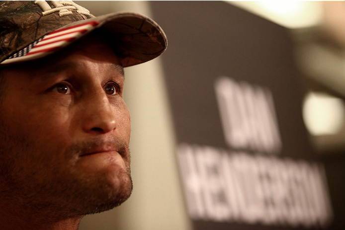 LAS VEGAS, NV - MAY 22:   Dan Henderson speaks to the media during the UFC 173 Ultimate Media Day at the MGM Grand Garden Arena on May 22, 2014 in Las Vegas, Nevada. (Photo by Brandon Magnus/Zuffa LLC/Zuffa LLC via Getty Images)