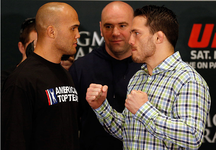 LAS VEGAS, NV - MAY 22:  (L-R) Opponents Robbie Lawler and Jake Ellenberger face off during the UFC 173 Ultimate Media Day at the MGM Grand Hotel/Casino on May 22, 2014 in Las Vegas, Nevada.  (Photo by Josh Hedges/Zuffa LLC/Zuffa LLC via Getty Images)