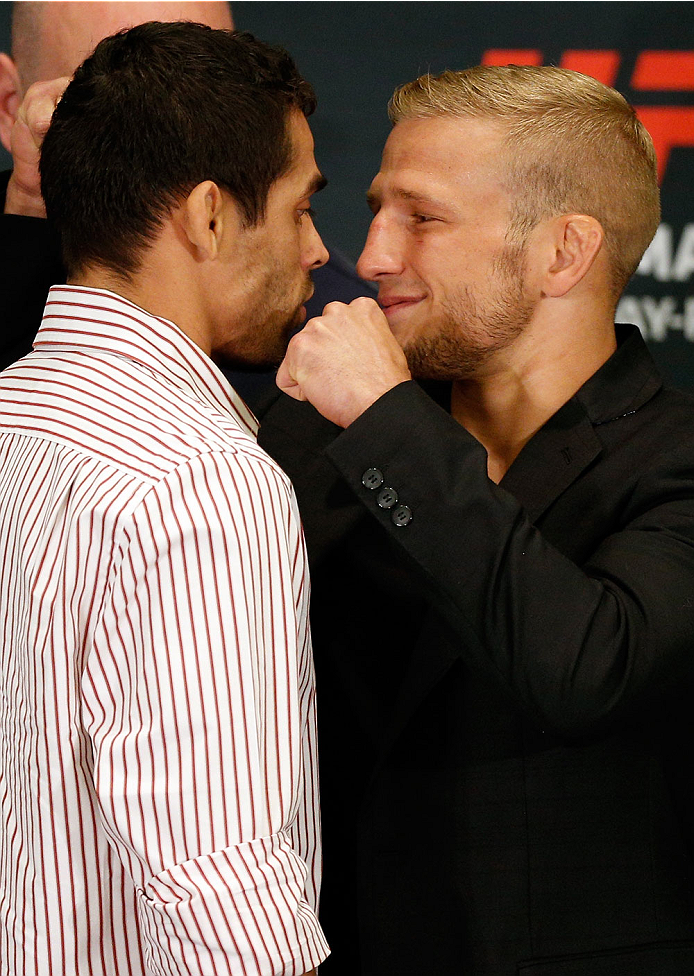 LAS VEGAS, NV - MAY 22:  (L-R) Opponents Renan Barao and T.J. Dillashaw face off during the UFC 173 Ultimate Media Day at the MGM Grand Hotel/Casino on May 22, 2014 in Las Vegas, Nevada.  (Photo by Josh Hedges/Zuffa LLC/Zuffa LLC via Getty Images)