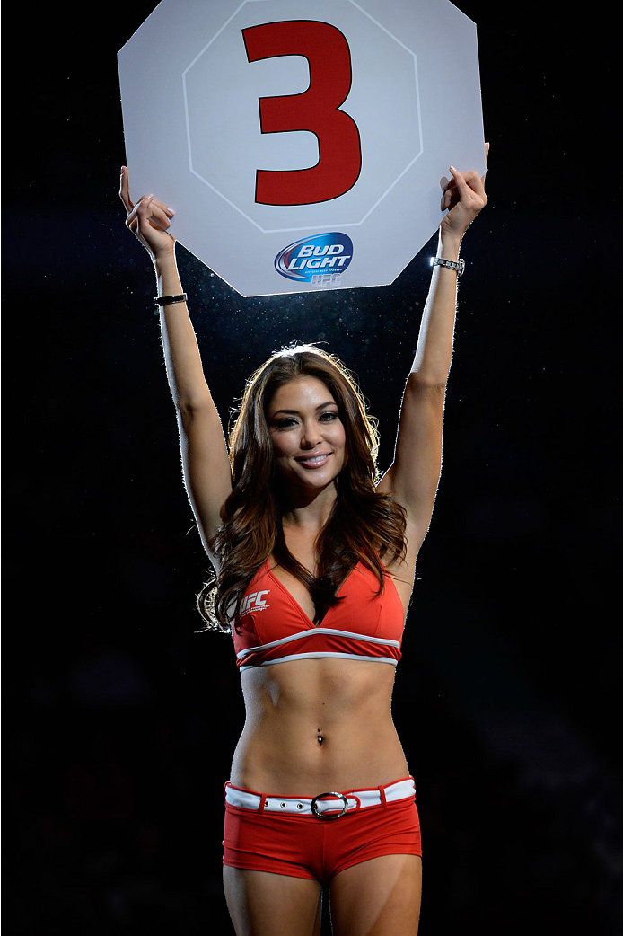 VANCOUVER, BC - JUNE 14:  UFC Octagon Girl Arianny Celeste signals the start of round three between Michinori Tanaka and Roland Delorme during the UFC 174 event at Rogers Arena on June 14, 2014 in Vancouver, British Columbia, Canada. (Photo by Jeff Bottari/Zuffa LLC/Zuffa LLC via Getty Images)