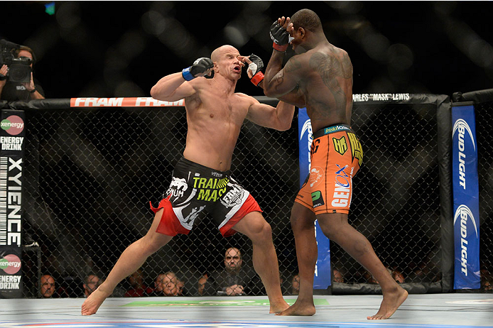 VANCOUVER, BC - JUNE 14:  (L-R) Ryan Jimmo punches Ovince Saint Preux during the UFC 174 event at Rogers Arena on June 14, 2014 in Vancouver, British Columbia, Canada. (Photo by Jeff Bottari/Zuffa LLC/Zuffa LLC via Getty Images)