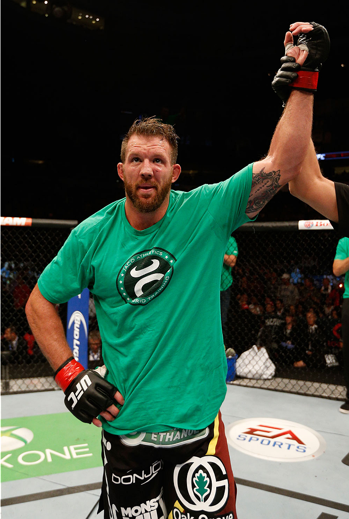 "VANCOUVER, BC - JUNE 14:  Ryan Bader reacts after his decision victory over Rafael ""Feijao"" Cavalcante in their light heavyweight bout at Rogers Arena on June 14, 2014 in Vancouver, Canada.  (Photo by Josh Hedges/Zuffa LLC/Zuffa LLC via Getty Images)"