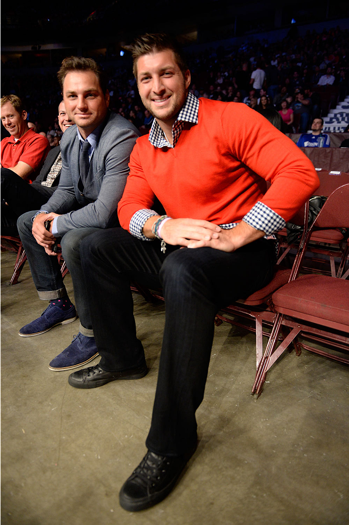 VANCOUVER, BC - JUNE 14:  Former Heisman Trophy winner and Denver Broncos quarterback Tim Tebow attends the UFC 174 event at Rogers Arena on June 14, 2014 in Vancouver, British Columbia, Canada. (Photo by Jeff Bottari/Zuffa LLC/Zuffa LLC via Getty Images)