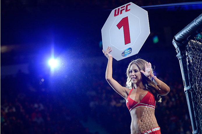 VANCOUVER, BC - JUNE 14:  UFC Octagon Girl Brittney Palmer signals the start of round one between Ovince Saint Preux and Ryan Jimmo during the UFC 174 event at Rogers Arena on June 14, 2014 in Vancouver, British Columbia, Canada. (Photo by Jeff Bottari/Zuffa LLC/Zuffa LLC via Getty Images)