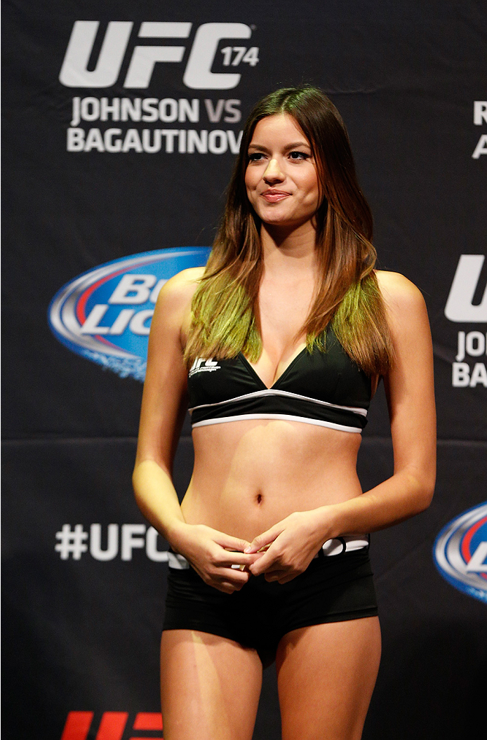 VANCOUVER, BC - JUNE 13:  UFC Octagon Girl Vanessa Hanson stands on stage during the UFC 174 weigh-in at Rogers Arena on June 13, 2014 in Vancouver, Canada.  (Photo by Josh Hedges/Zuffa LLC/Zuffa LLC via Getty Images)