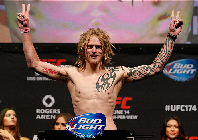 VANCOUVER, BC - JUNE 13:  Josh Shockley weighs in during the UFC 174 weigh-in at Rogers Arena on June 13, 2014 in Vancouver, Canada.  (Photo by Josh Hedges/Zuffa LLC/Zuffa LLC via Getty Images)
