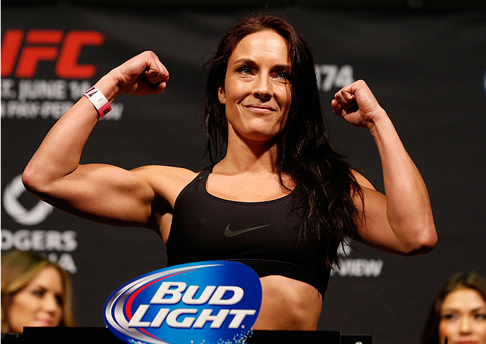 VANCOUVER, BC - JUNE 13:  Valerie Letourneau weighs in during the UFC 174 weigh-in at Rogers Arena on June 13, 2014 in Vancouver, Canada.  (Photo by Josh Hedges/Zuffa LLC/Zuffa LLC via Getty Images)