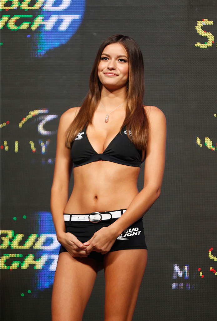 LAS VEGAS, NV - JULY 04:  UFC Octagon Girl Vanessa Hanson stands on stage during the UFC 175 weigh-in inside the Mandalay Bay Events Center on July 4, 2014 in Las Vegas, Nevada.  (Photo by Josh Hedges/Zuffa LLC/Zuffa LLC via Getty Images)