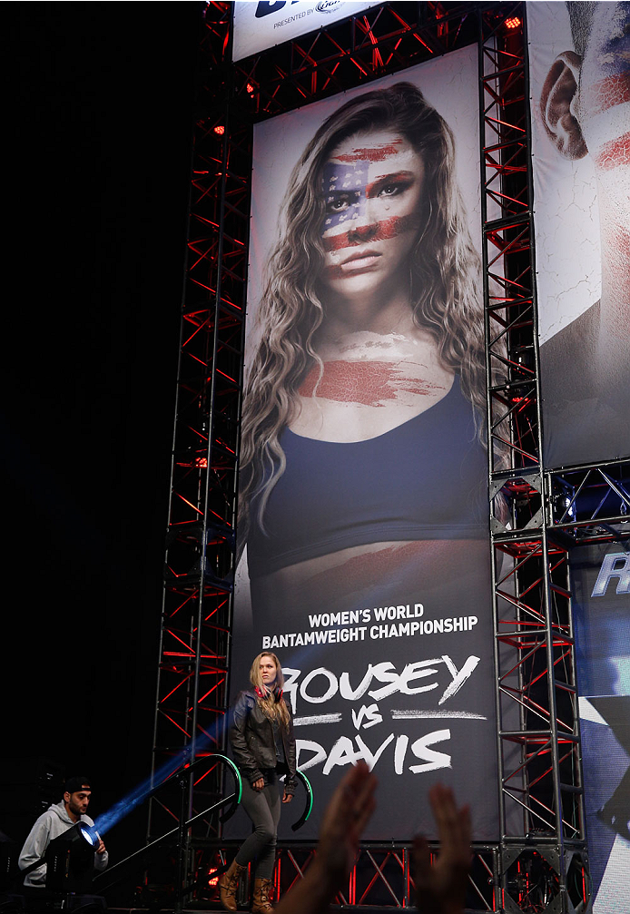 LAS VEGAS, NV - JULY 04:  UFC Women's Bantamweight Champion Ronda Rousey walks onto the stage during the UFC 175 weigh-in inside the Mandalay Bay Events Center on July 4, 2014 in Las Vegas, Nevada.  (Photo by Josh Hedges/Zuffa LLC/Zuffa LLC via Getty Images)