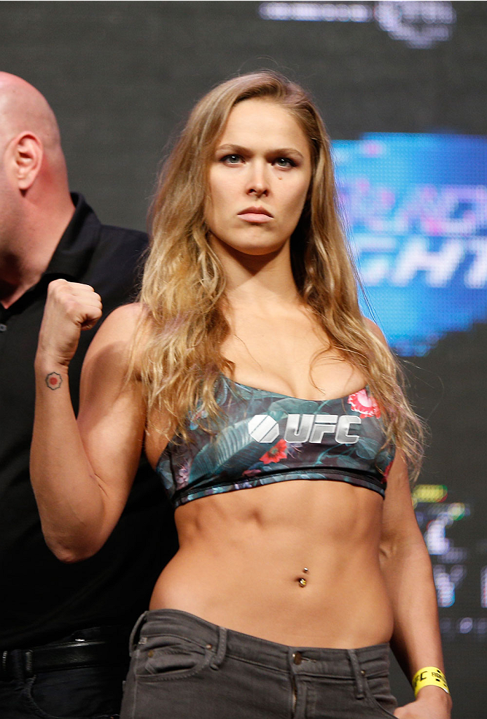 LAS VEGAS, NV - JULY 04:  UFC Women's Bantamweight Champion Ronda Rousey weighs in during the UFC 175 weigh-in inside the Mandalay Bay Events Center on July 4, 2014 in Las Vegas, Nevada.  (Photo by Josh Hedges/Zuffa LLC/Zuffa LLC via Getty Images)
