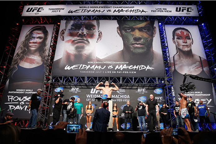 LAS VEGAS, NV - JULY 04:  UFC Middleweight Champion Chris Weidman weighs in during the UFC 175 weigh-in inside the Mandalay Bay Events Center on July 4, 2014 in Las Vegas, Nevada.  (Photo by Josh Hedges/Zuffa LLC/Zuffa LLC via Getty Images)