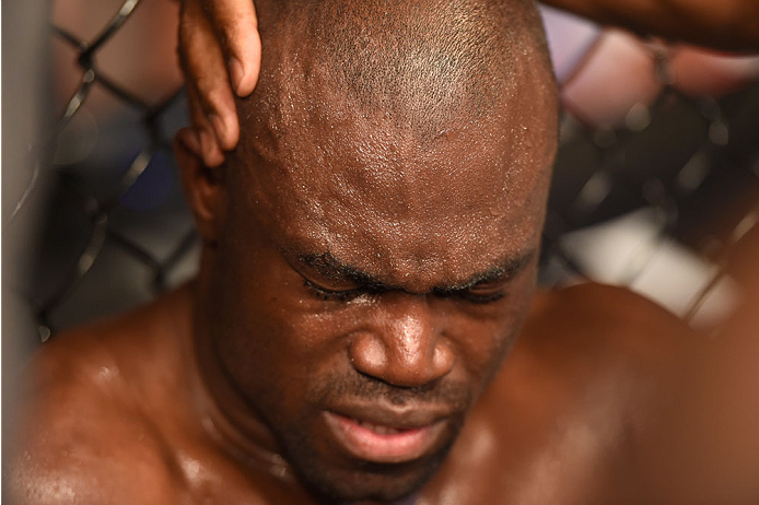 LAS VEGAS, NV - JULY 05:  Uriah Hall reacts to his broken toe during his fight with Thiago Santos in their middleweight fight at UFC 175 inside the Mandalay Bay Events Center on July 5, 2014 in Las Vegas, Nevada.  (Photo by Donald Miralle/Zuffa LLC/Zuffa LLC via Getty Images)