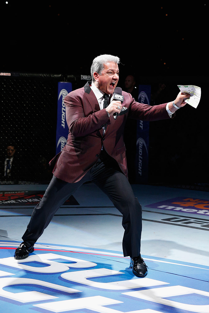 LAS VEGAS, NV - JULY 05:  Bruce Buffer announces the UFC women's bantamweight championship fight between Ronda Rousey and Alexis Davis at UFC 175 inside the Mandalay Bay Events Center on July 5, 2014 in Las Vegas, Nevada.  (Photo by Josh Hedges/Zuffa LLC/Zuffa LLC via Getty Images)