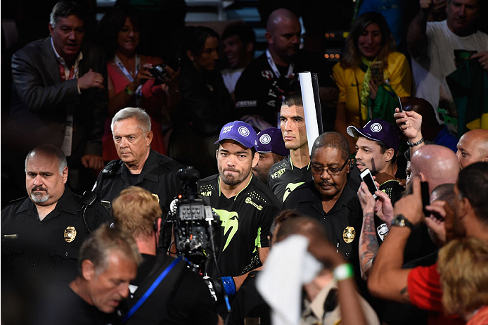 LAS VEGAS, NV - JULY 05:  Lyoto Machida enters the arena for his UFC middleweight championship fight with UFC middleweight champion Chris Weidmand at UFC 175 inside the Mandalay Bay Events Center on July 5, 2014 in Las Vegas, Nevada.  (Photo by Donald Miralle/Zuffa LLC/Zuffa LLC via Getty Images)