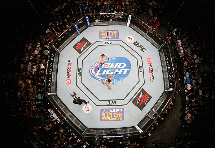 LAS VEGAS, NV - JULY 05:  (L-R) A view from above of UFC middleweight champion Chris Weidman kicking Lyoto Machida during their UFC middleweight championship fight at UFC 175 inside the Mandalay Bay Events Center on July 5, 2014 in Las Vegas, Nevada.  (Photo by Josh Hedges/Zuffa LLC/Zuffa LLC via Getty Images)