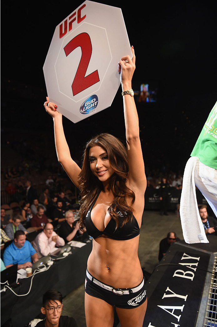 LAS VEGAS, NV - JULY 05:  UFC Octagon Girl Arianny Celeste announces the second round during UFC 175 inside the Mandalay Bay Events Center on July 5, 2014 in Las Vegas, Nevada.  (Photo by Donald Miralle/Zuffa LLC/Zuffa LLC via Getty Images)