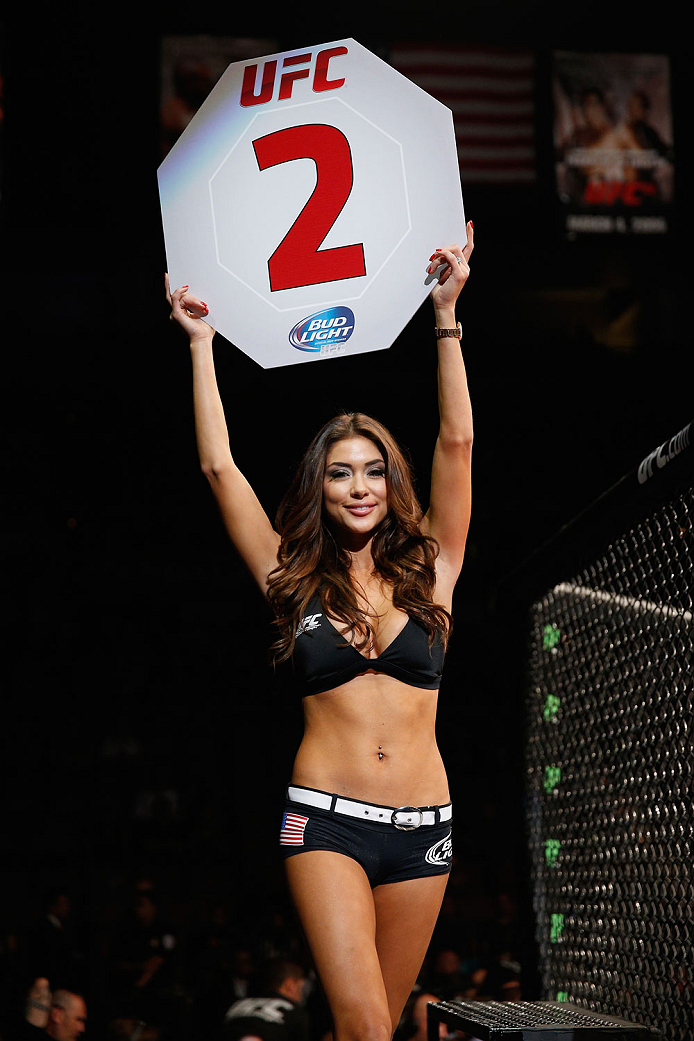 LAS VEGAS, NV - JULY 05:  UFC Octagon Girl Arianny Celeste announces the second round at UFC 175 inside the Mandalay Bay Events Center on July 5, 2014 in Las Vegas, Nevada.  (Photo by Josh Hedges/Zuffa LLC/Zuffa LLC via Getty Images)