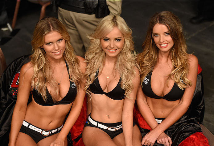 LAS VEGAS, NV - JULY 05: (L-R) UFC Octagon Girls Chrissy Blair, Jhenny Andrade and Kahili Blundell during UFC 175 inside the Mandalay Bay Events Center on July 5, 2014 in Las Vegas, Nevada. (Photo by Donald Miralle/Zuffa LLC/Zuffa LLC via Getty Images)