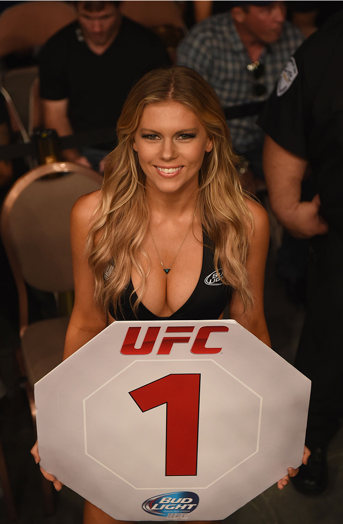 LAS VEGAS, NV - JULY 05: UFC Octagon Girl Chrissy Blair at UFC 175 inside the Mandalay Bay Events Center on July 5, 2014 in Las Vegas, Nevada. (Photo by Donald Miralle/Zuffa LLC/Zuffa LLC via Getty Images)