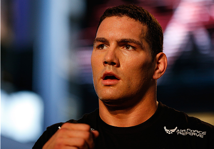 LAS VEGAS, NV - JULY 02:  UFC middleweight champion Chris Weidman holds an open training session ahead of UFC 175 at the Fashion Show Mall on July 2, 2014 in Las Vegas, Nevada.  (Photo by Josh Hedges/Zuffa LLC/Zuffa LLC via Getty Images)