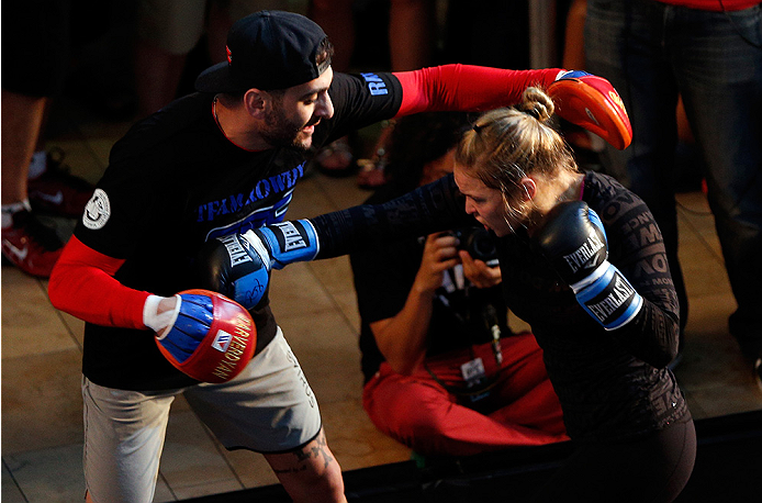 Rousey and Tarverdyan at open workouts