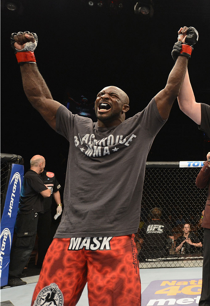 LAS VEGAS, NV - JULY 05:  Kevin Casey celebrates defeating Bubba Bush in their middleweight fight at UFC 175 inside the Mandalay Bay Events Center on July 5, 2014 in Las Vegas, Nevada.  (Photo by Donald Miralle/Zuffa LLC/Zuffa LLC via Getty Images)