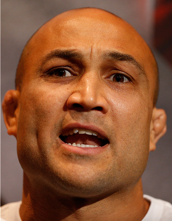 LAS VEGAS, NV - JULY 03:  BJ Penn interacts with media during the UFC Ultimate Media Day at the Mandalay Bay Resort and Casino on July 3, 2014 in Las Vegas, Nevada.  (Photo by Josh Hedges/Zuffa LLC/Zuffa LLC via Getty Images)
